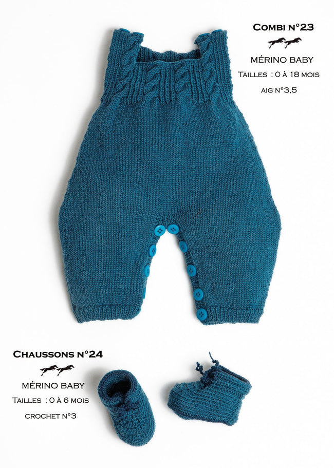 Free Cheval Blanc pattern - Baby booties cat.23-24
