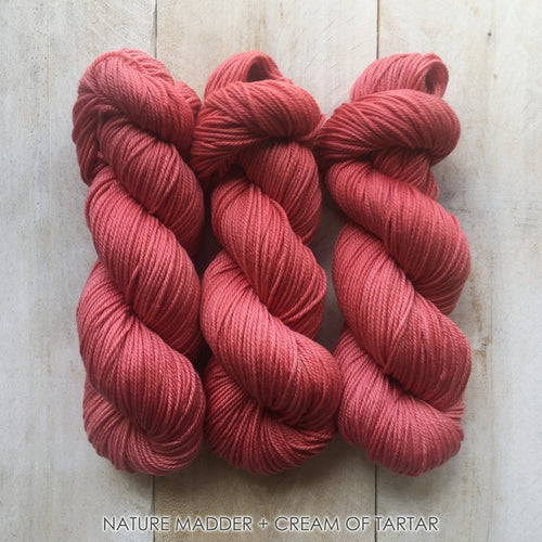 MADDER+CREAM OF TARTAR by Louise Robert Design | DK PURE hand-dyed yarn, natural dyes