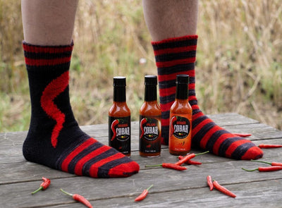 Knitting kit COBAR SOCKS Intarsia Version - with HOT SAUCE GIFT SET
