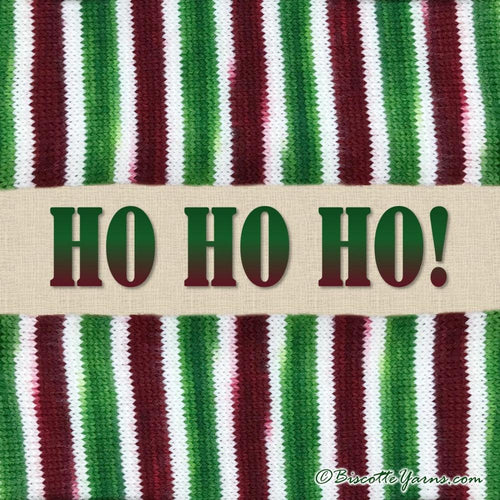 HO HO HO! Self-striping Hand-dyed Bis-Sock Holiday Yarn