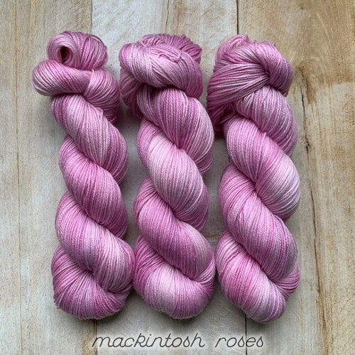 MACKINTOSH ROSES by Louise Robert Design | SUPER SOCK hand-dyed semi-solid yarn