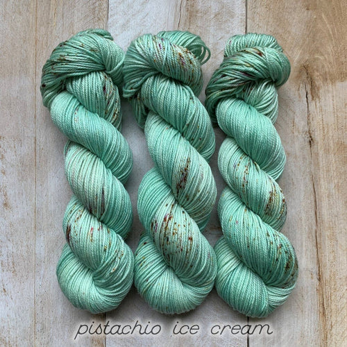 PISTACHIO ICE CREAM by Louise Robert Design | DK PURE hand-dyed Speckled yarn