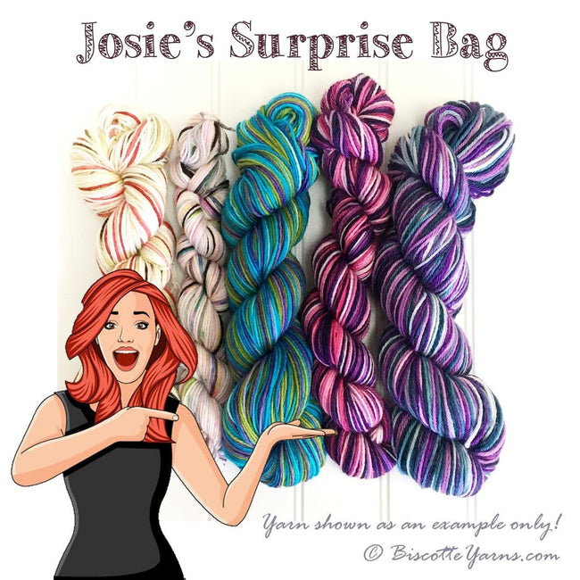 Josie's surprise bag of yarn | Mill end of self-striping sock yarn! - Biscotte yarns