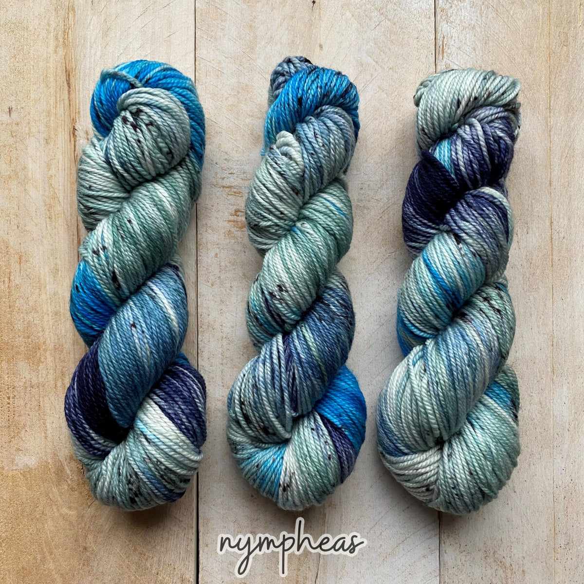NYMPHÉAS by Louise Robert Design | MERINO WORSTED hand-dyed Variegated + Speckled yarn