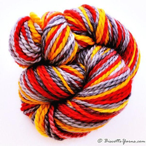 Merino worsted weight yarn GRIFFON self-striping Clown Fish
