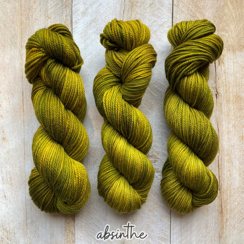 ABSINTHE by Louise Robert Design | MERINO WORSTED hand-dyed semi-solid yarn