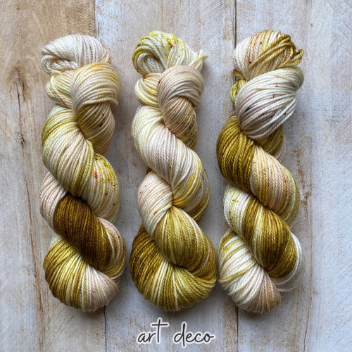ART DECO by Louise Robert Design | MERINO WORSTED hand-dyed Variegated + Speckled yarn