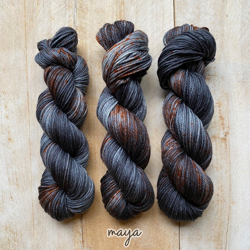 MAYA by Louise Robert Design | MERINO WORSTED hand-dyed speckled yarn