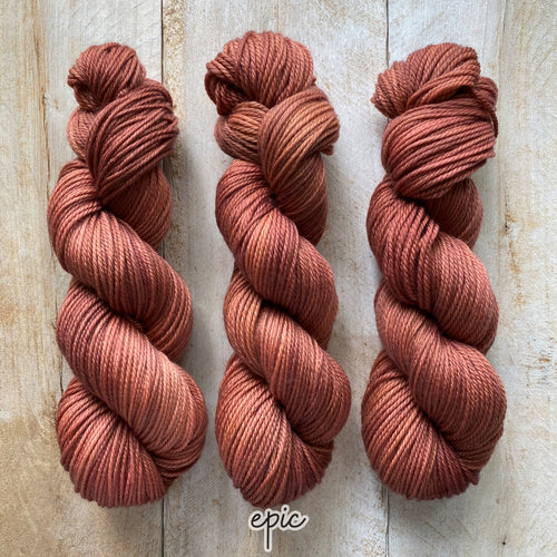 EPIC by Louise Robert Design | MERINO WORSTED hand-dyed semi-solid yarn