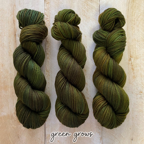 GREEN GROWS by Louise Robert Design | MERINO WORSTED hand-dyed Variegated yarn