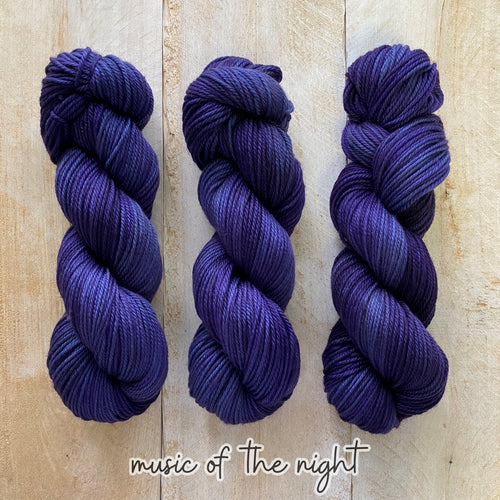 MUSIC OF THE NIGHT by Louise Robert Design | MERINO WORSTED hand-dyed semi-solid yarn