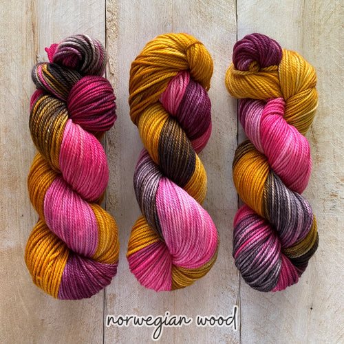 NORWEGIAN WOOD by Louise Robert Design | MERINO WORSTED hand-dyed Variegated yarn