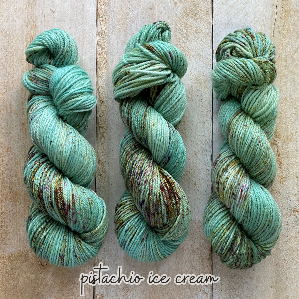 PISTACHIO ICE CREAM by Louise Robert Design | MERINO WORSTED hand-dyed Speckled yarn