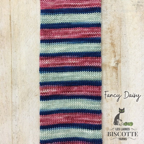 Bis-sock yarn '' Fancy Daisy '' self-striping hand-dyed yarn