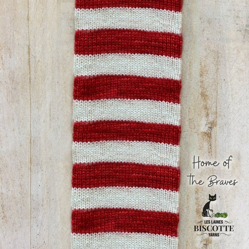DK weight yarn ♥ Home of the Braves self-striping hand-dyed yarn