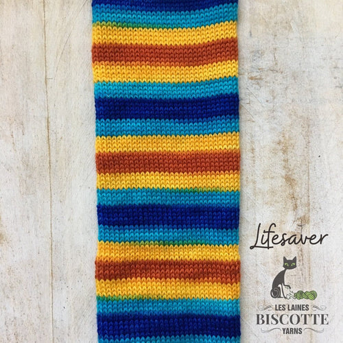 Bis-sock yarn '' Lifesaver '' self-striping hand-dyed yarn