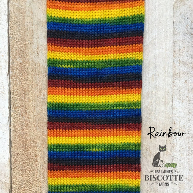DK weight yarn ♥ Rainbow self-striping hand-dyed yarn