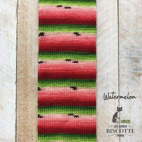 Merino worsted weight yarn GRIFFON self-striping watermelon