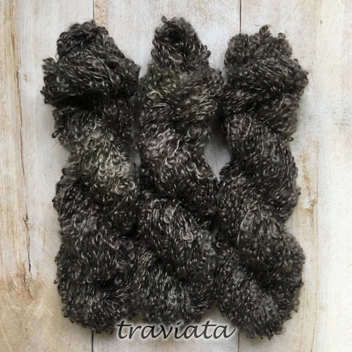 TRAVIATA by Louise Robert Design | BOUCLE MOHAIR hand-dyed semi-solid yarn