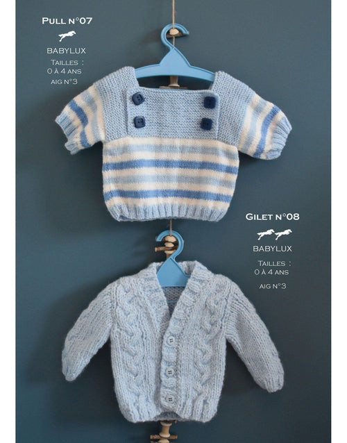 Cheval Blanc pattern Cat. 31, No 07 -Baby Cardigan - Up to 0 to 4 years old