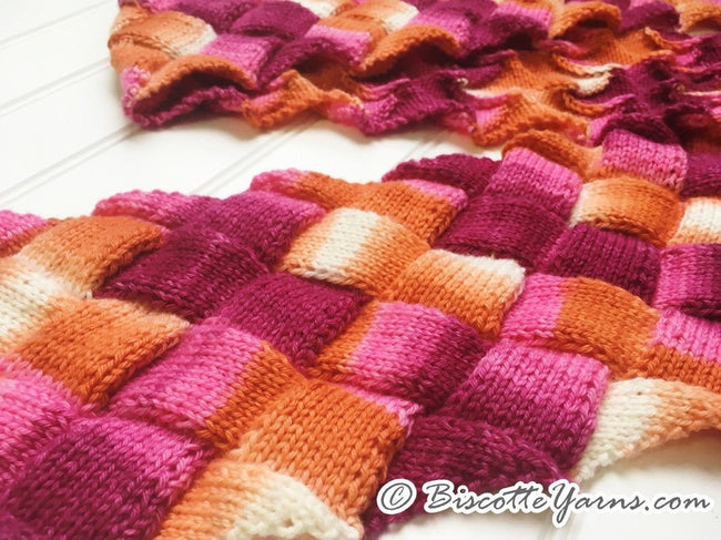 Entrelac scarf knitting pattern Biscotte's version - Biscotte yarns
