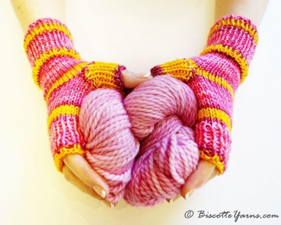 Learn to knit in the round with this Fingerless Mitts pattern