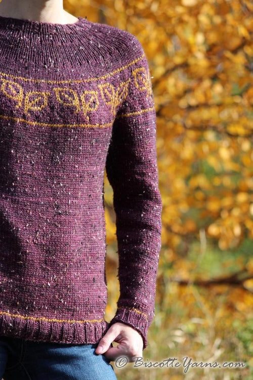 Fallen Leaves free yoke sweater pattern