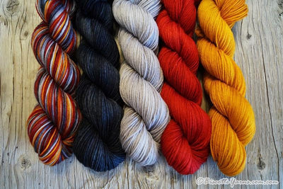 "Paintbox - Hand-dyed gradient yarn kit ""Sorcerer Uniform"" - Biscotte yarns"