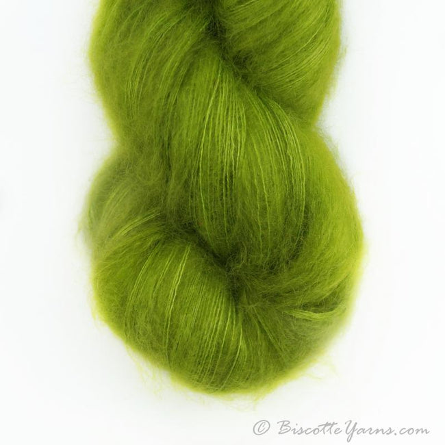 Hand-Dyed Kid Silk Yarn | Hermione VERT BISCOTTE | 100g or 50g