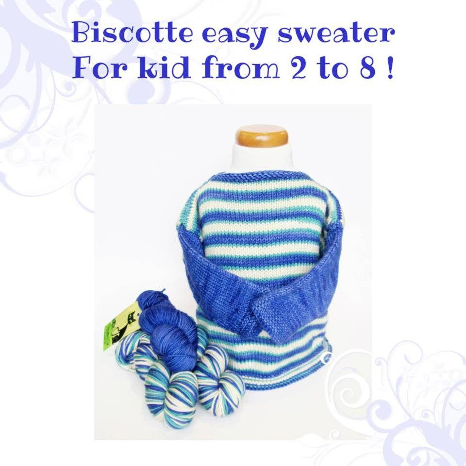 Easy sweater pattern for kids - Biscotte yarns