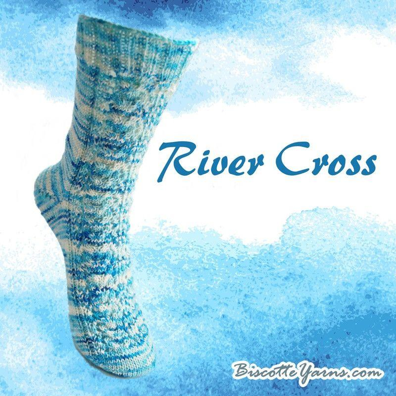 Free sock pattern - River Cross - Biscotte yarns  - 1