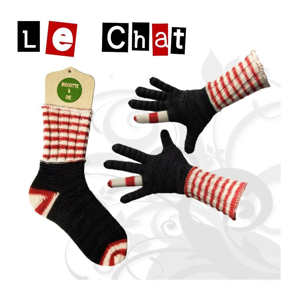 Sock and gloves pattern Le Chat - Biscotte yarns