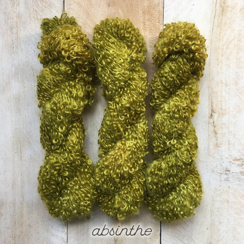 ABSINTHE by Louise Robert Design | BOUCLE MOHAIR hand-dyed semi-solid yarn