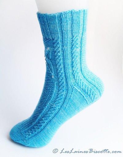 Sock knitting pattern - Frozen Butterflies - Biscotte yarns