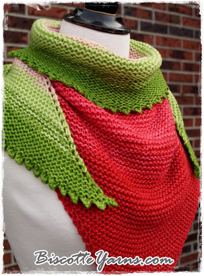 Shawl pattern - Watermelon Slice Shawl - Biscotte yarns