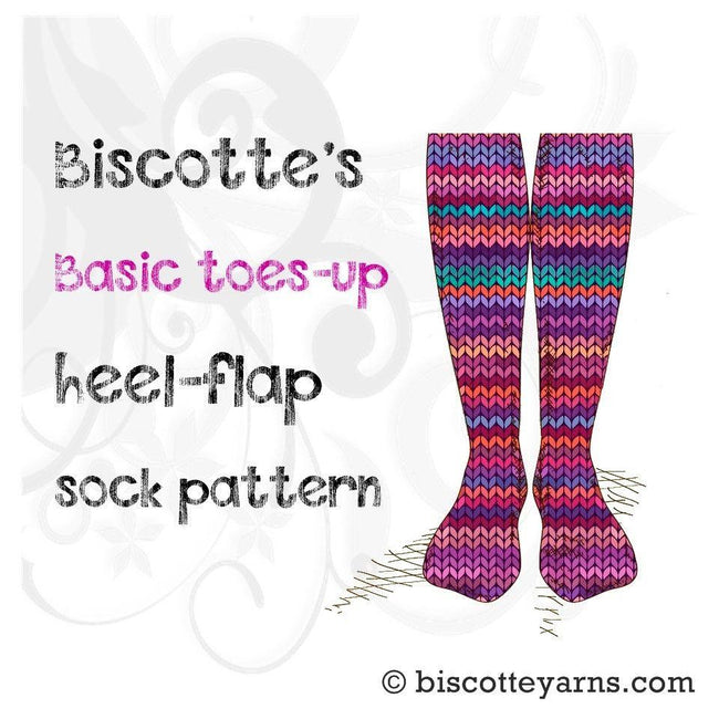 Sock pattern - basic toes-up heel flap by Biscotte - Biscotte yarns