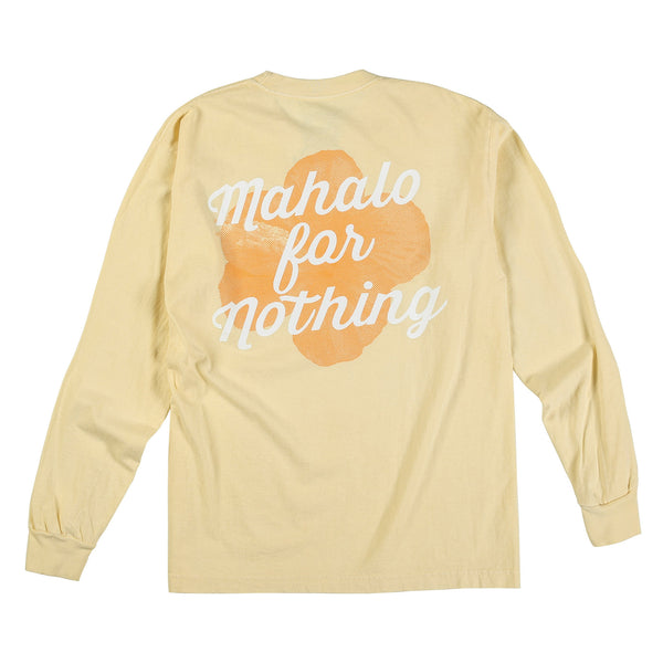 Mahalo Hibiscus Long Sleeve Tee (Hot Buttered)