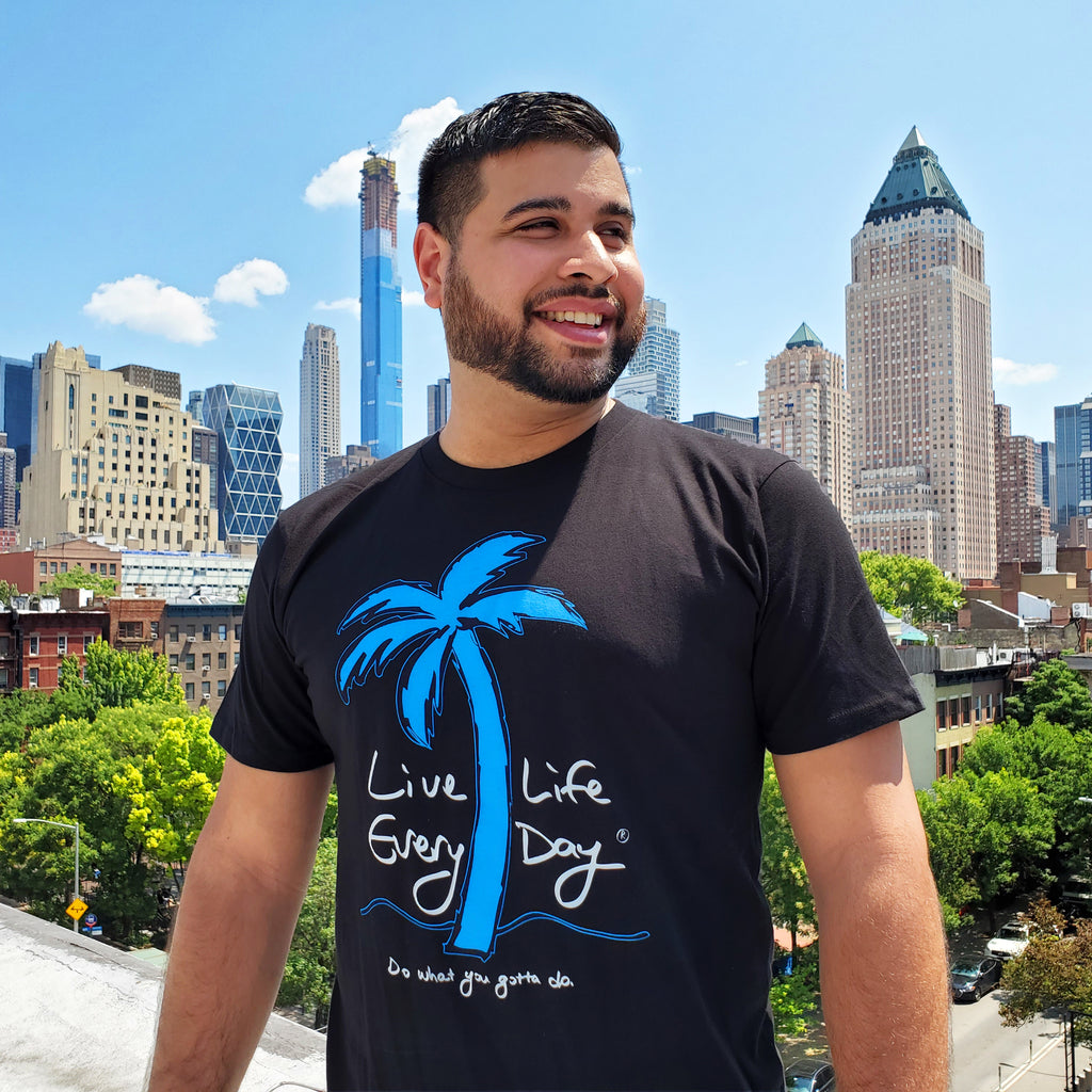 Live Life Every Day Logo Tee Front Guy Black