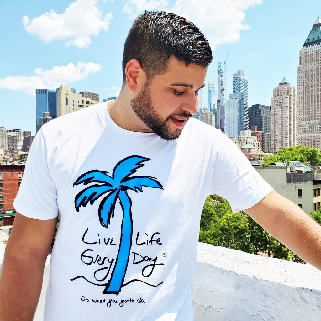 Live Life Every Day Logo Tee Front Guy White