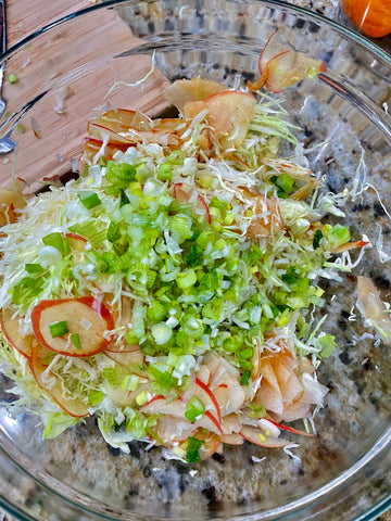 cabbage slaw green onions apples
