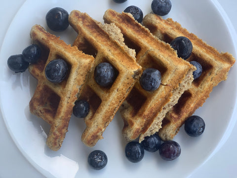Waffles gluten free vegan waffles with blueberries and chia seeds 3 ingredients pamela's baking mix
