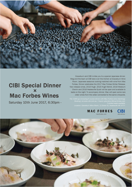 CIBI Special Dinner × Mac Forbes Wines