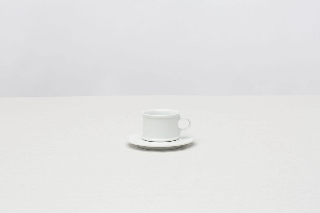 H-Type Coffee Cup and Saucer White