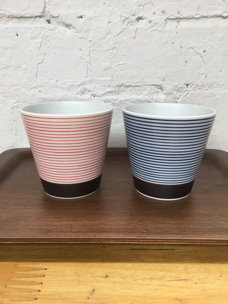 Arita Porcelain Lab Cup (Red stripes w brown bottom)