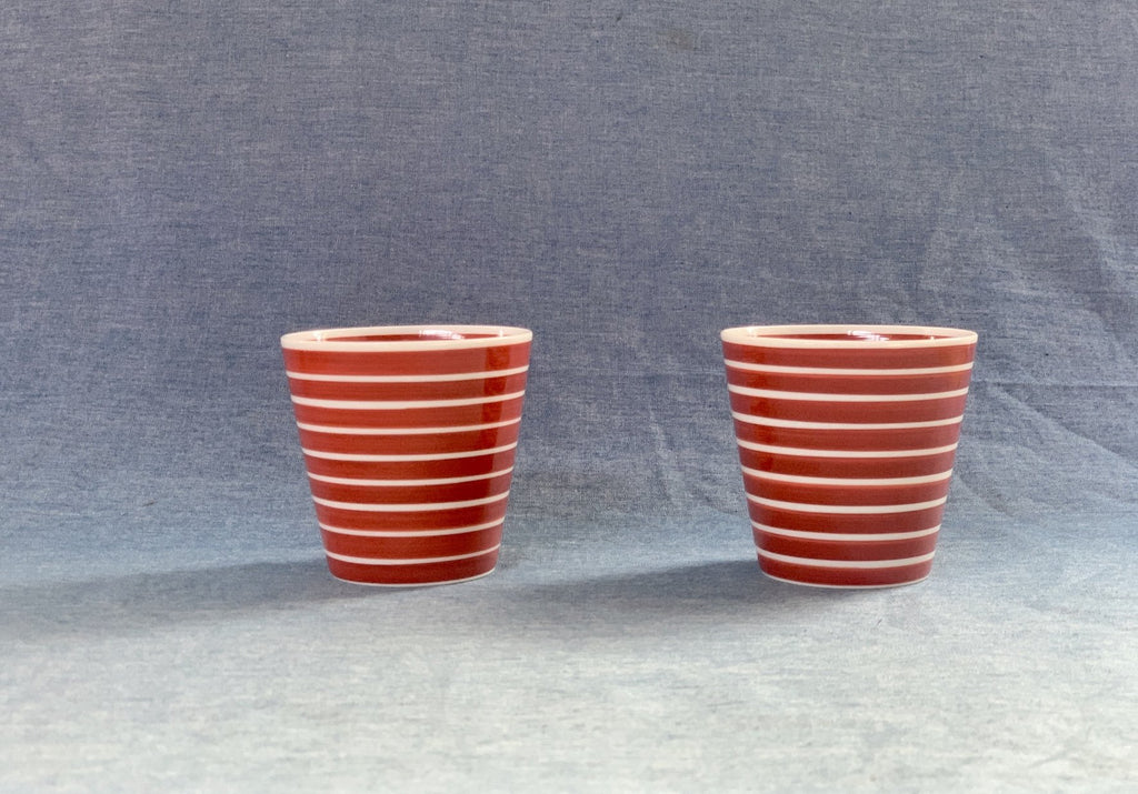 Arita Porcelain Lab Cup (Red w white stripes)
