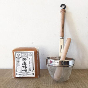 Miso Soup Strainer and Wooden Pestle