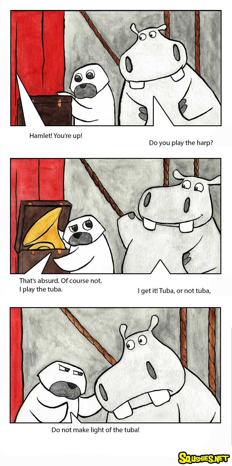 The Squshies web comic! Read about the adventures of Beauregard the Hippo and Reginald the Rhino - Battle of the Bands - Week 4