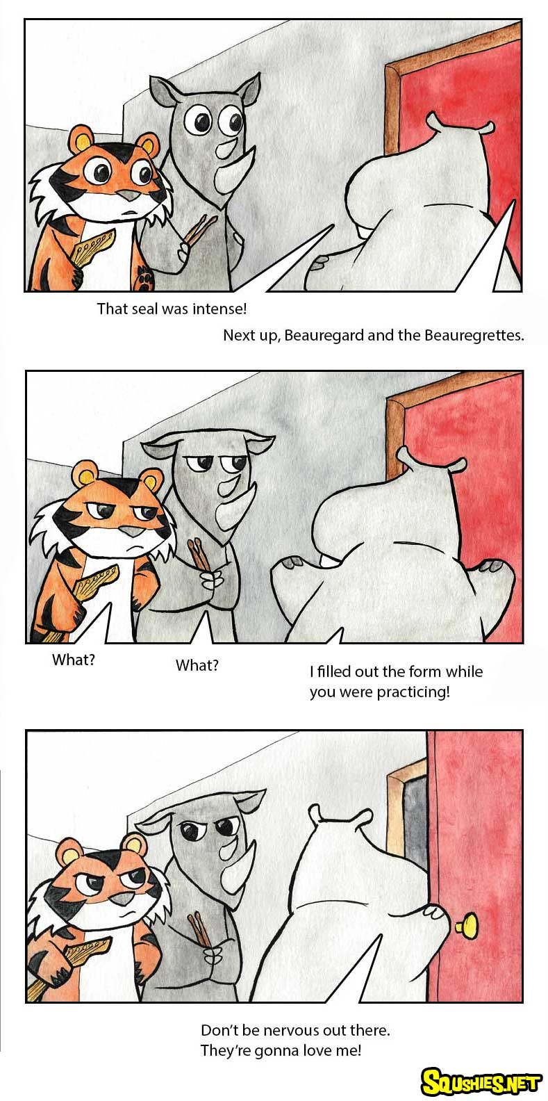 The Squshies web comic! Read about the adventures of Beauregard the Hippo and Reginald the Rhino - Battle of the Bands - Week 5