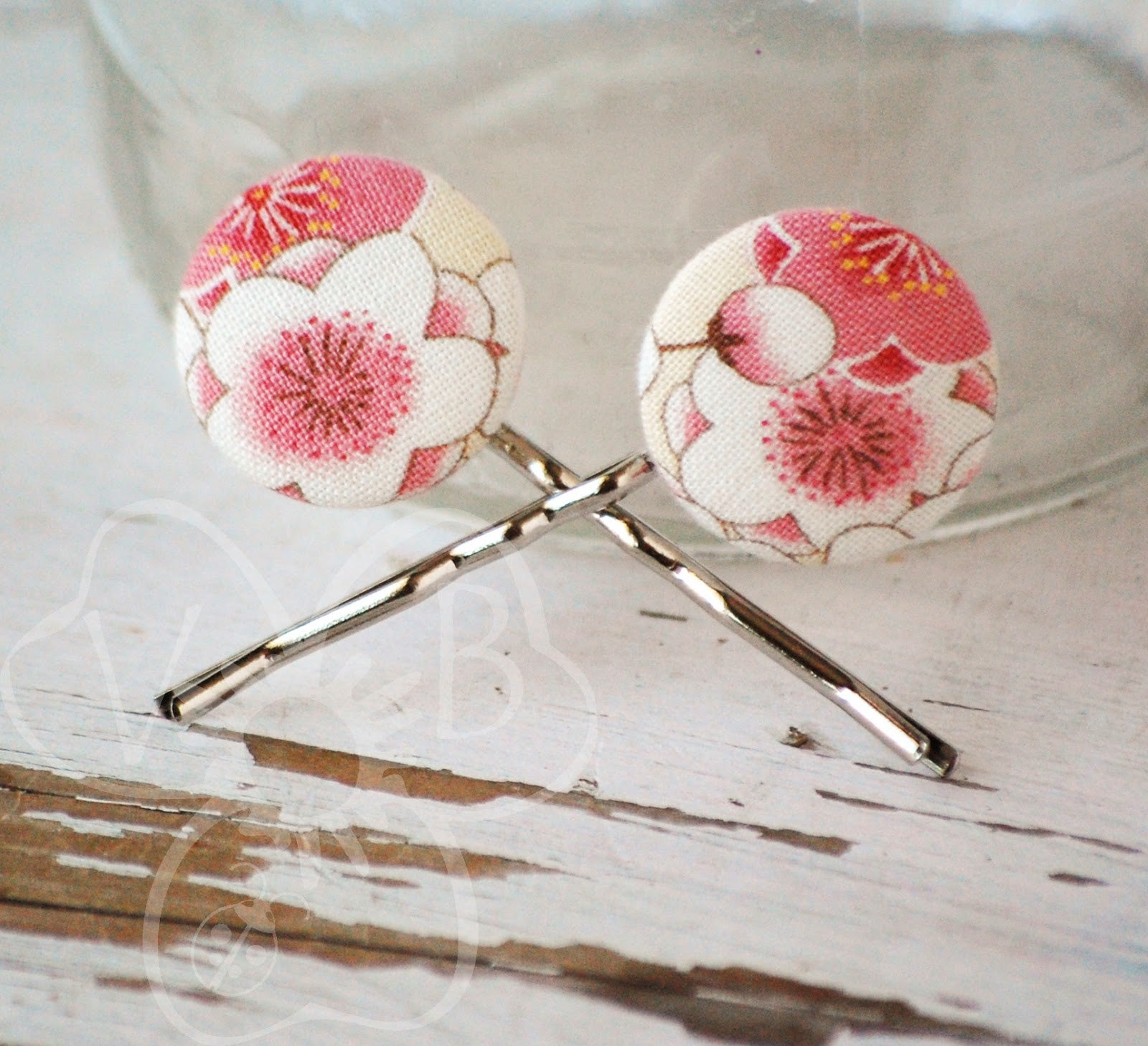 Flower Fabric Bobby Pins