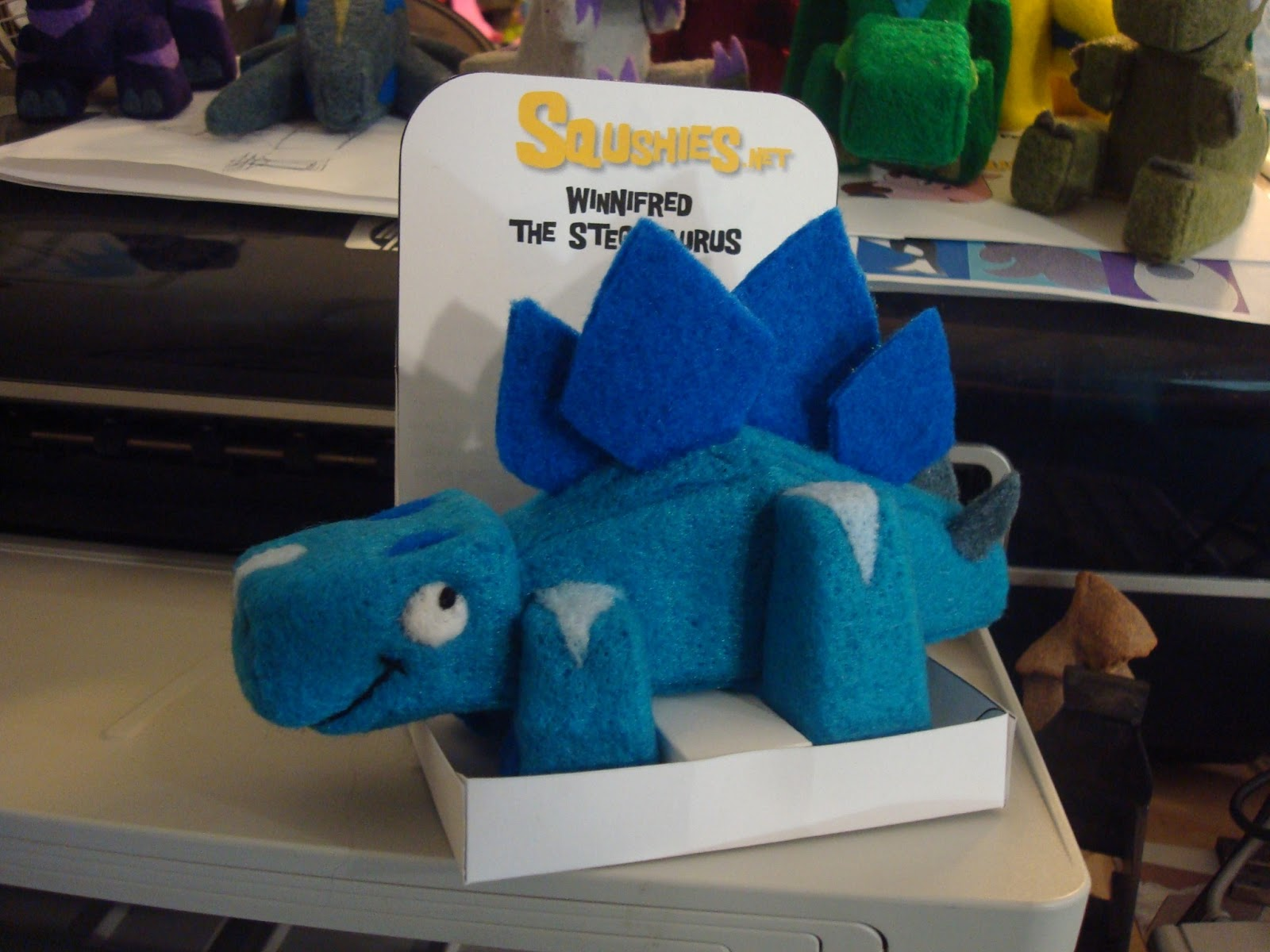 squshies felt dinosaur sculpture